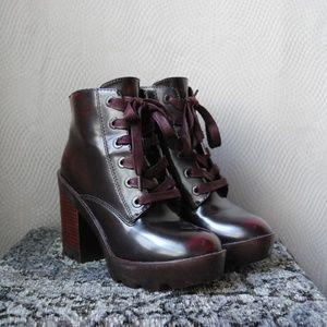 Maroon Shiny Plastic esque Lace Up Heeled Boot